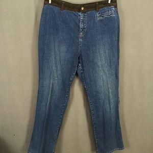 Ralph Lauren LRL Jeans Leather Trim Straight Leg